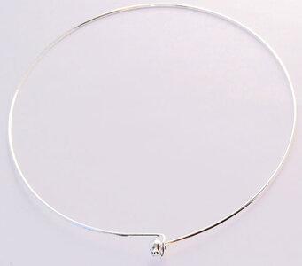 Verzilverde ketting met bol  2mm - silver plated neckwire (1 pcs)
