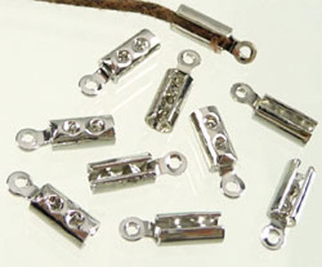 Metalen veter/leerklemmetje ± 10x3mm (10 stuks)
