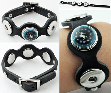 DoubleBeads EasyButton leren armband (100% top leer) (zwart)