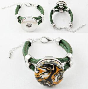 DoubleBeads EasyButton XL leren armband gevlochten ± 17-25cm (groen)