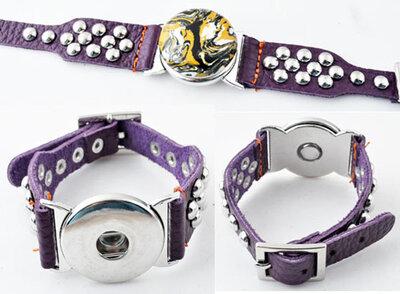 DoubleBeads EasyButton XL leren armband(100% top leer)±18-22cm(paars)