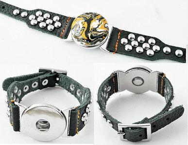 DoubleBeads EasyButton XL leren armband(100% top leer)±18-22cm(grijs-groen)