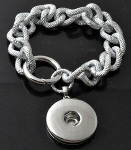 DoubleBeads EasyButton XL armband ± 20cm (nikkelkleur)