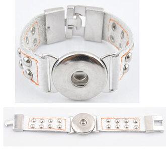 DoubleBeads EasyButton XL leren armband (100% top leer)±20x3cm(wit)