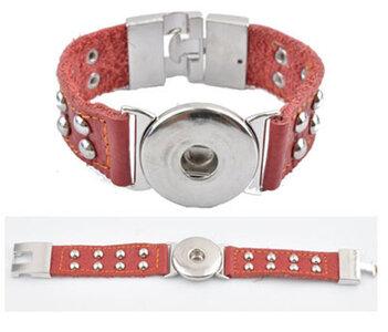 DoubleBeads EasyButton XL leren armband (100% top leer)±22x3cm (rood)