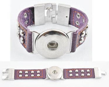 DoubleBeads EasyButton XL leren armband (100% top leer)±20x3cm(paars)