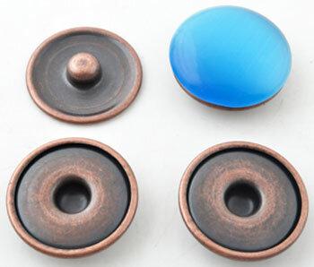 Metalen drukknopen DoubleBeads EasyButton XL koperkleur ± 30mm(4 stuks)