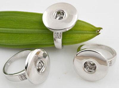 Metalen (Rhodium Plated) vingerringen DoubleBeads EasyButton