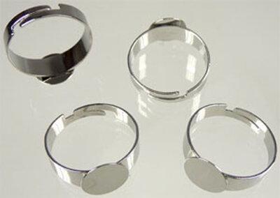 Metaal vingerring, rond (10mm) (in maat verstelbaar >=19mm)