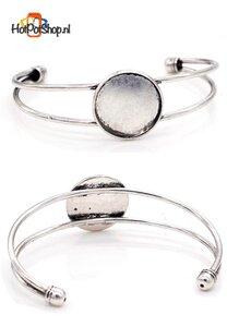 metalen cuff armband bewerkt ± 18,5cm met ± 20mm plakvlak  (oudzilverkleur)